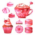 Hand painted illustration with watercolor macaroons, marshmallows, cup with coffee and muffin