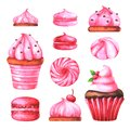 Hand painted illustration with watercolor macaroons, marshmallows, and muffin