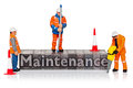 Hand painted miniature workmen figurines word maintenance old metal letterpress isolated white background Royalty Free Stock Photos