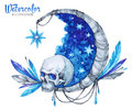 Hand painted mystic emblem with skull, moon, stars and feathers. Halloween`s night.