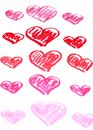 Hand painted red hearts pastel chalks valentine s day abstract background isolated on white Stock Photo