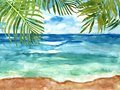 Hand drawn beach view. Watercolour sea, sky and tropical leaves. Summer seaside background