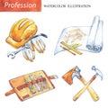 Hand painted set carpentery tools . Profession, hobby, craft illustration.