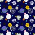 Hand painted space seamless pattern with stars and planets on dark blue background. Cosmos print with satellites . Sci fi