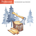 Hand painted stump with axe, firewood, forest.