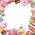 Hand painted tasty desserts square frame for cards design, birthday. Donut, macaron, cakes, cupcakes, candies on white background