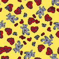 Hand painted teddy bear and hearts. Seamless background.