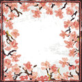 Hand painted textured blooming sakura vignette
