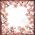 Hand painted textured blooming sakura vignette