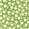 Hand painted textured seamless pattern stylized flowers green background made warm solar shades Stock Photography