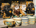 Hand painted traditional italian ceramic vases from sicily Royalty Free Stock Photo