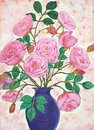 Hand painted vase of French roses Royalty Free Stock Photos