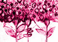 The hand painted watercolo of stylized flowers Stock Images