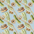 Hand painted watercolor illustration Tropical pirate jungle rope chest seamless pattern blue background