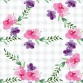 Hand-painted Watercolor pattern of a branch with flowers pink Magnolia flower spring card Royalty Free Stock Photo
