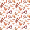 Hand painted watercolor seamless pattern with illustrations east