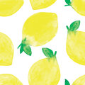 Hand painted watercolor seamless pattern with lemons Royalty Free Stock Photo
