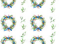 Hand painted watercolor wreath pattern Royalty Free Stock Photo