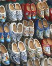 Hand painted wooden shoes in close up in amsterdam are for sale at the flower market the city centre of Royalty Free Stock Photo