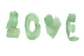 Hand painted word love on a white background. Valentine`s day