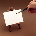 Hand painting on tiny canvas blank selective focus Royalty Free Stock Photography