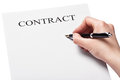 Hand with pen signing a contract isolated on white background Stock Photo