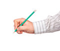 Hand with pencil man s holding a green Stock Photo