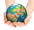 Hand of the person holds globe human holding a Stock Image