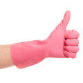 Hand in a pink domestic glove shows ok on white background Stock Image