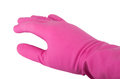Hand in a pink rubber glove isolated on white background Royalty Free Stock Image