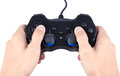 Hand playing joystick isolated on white with clipping path Royalty Free Stock Photo