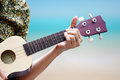 Hand playinng Ukulele Royalty Free Stock Images