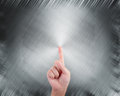 Hand pointing on abstract grey background metal Royalty Free Stock Image