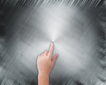 Hand pointing on abstract grey background metal Royalty Free Stock Photo