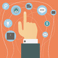 Hand pointing index finger hovers over multiple icons vector. Concept of choice. Royalty Free Stock Photo