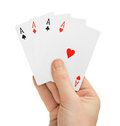 Hand with poker cards Royalty Free Stock Photo