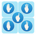 Hand poses in round icons counting from one to five blue Royalty Free Stock Photos