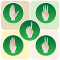 Hand poses in round icons counting from one to five green Stock Photography