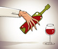 Hand pouring wine into glass. Royalty Free Stock Image
