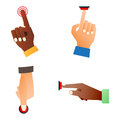 Hand press red button finger press control push pointer gesture human body part vector illustration. Royalty Free Stock Photo