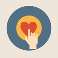 Hand pressing like ( heart ) button flat design vector illustration Royalty Free Stock Photo