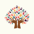 Hand print ethnic tree symbol of culture diversity Royalty Free Stock Photo