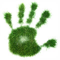 Hand print of grass Royalty Free Stock Photo