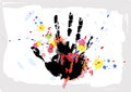 Hand print on ink splatter background Royalty Free Stock Image