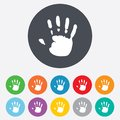 Hand print sign icon stop symbol round colourful buttons Stock Images