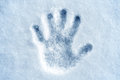 Hand print in snow Stock Photography