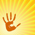 Hand print on a solar background Royalty Free Stock Photo