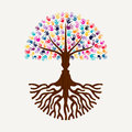 Hand print tree with human face silhouette shape Royalty Free Stock Photo