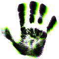 Hand prints different coloured overlayed Royalty Free Stock Image