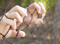 Hand of prison in jail Royalty Free Stock Photo